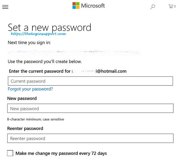 Hotmail Password Change