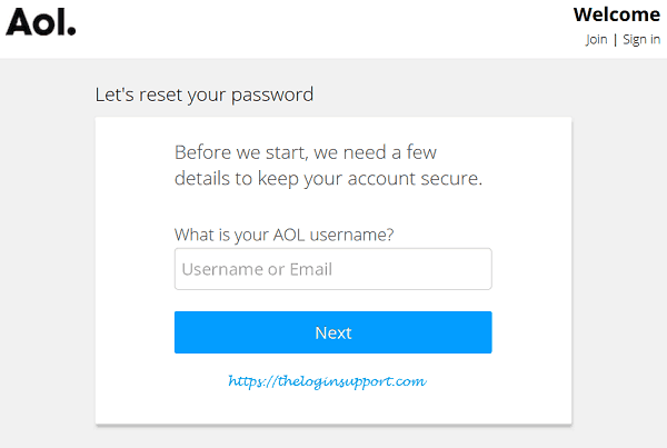 Reset AOL Password